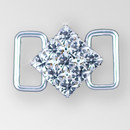 0.75 inch ss18 Square Crystal Silver Rhinestone Connector
