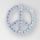 1.25 inch ss8.5 Crystal Silver Rhinestone Peace Sign - no loops (50% off)