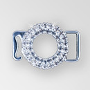 1 inch Crystal Silver Rhinestone Round Swan Hook Connector, ss8.5