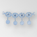 6.5 inch 4 Oval Crystal Silver Rhinestone Connector, ss6.5, ss12, ss45
