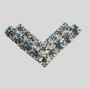 1.75 inches V-shaped 2 Row Rhinestone Trim with 2 loops on the back, Crystal/Silver (50 % off)