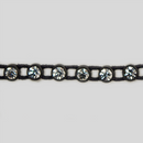 1-row ss15 Crystal, Black Setting, Machine Cut Stretch Rhinestone Plastic Banding