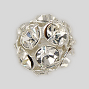 10mm Rhinestone Ball  Crystal, Silver Plated