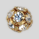 10mm Rhinestone Ball Crystal, Gold Plated