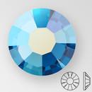 ss30 CAPRI BLUE AB - PRECIOSA MAXIMA Flat Back, 18 facets, foiled