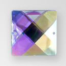 25mm Acrylic Square Sew-On Stone, Crystal AB color