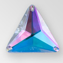 30mm Acrylic Triangle Sew-On Stone, Crystal AB color