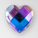 25mm Acrylic Heart Sew-On Stone, Crystal AB color