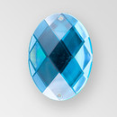 40x30mm Acrylic Oval Sew-On Stone, Blue Zircon color