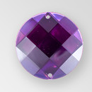 22mm Acrylic Round Sew-On Stone, Amethyst color