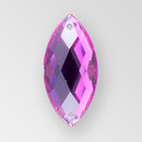 23x10mm Acrylic Navette Sew-On Stone, Amethyst color