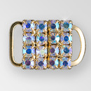 0.5 inch Square Rhinestone Closure with eye and hook, Crystal AB, Gold, ss12