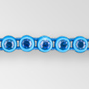 1-row ss13, Bermude Blue, Aqua Setting, Machine Cut Rhinestone  Plastic Banding