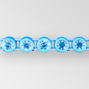 1-row ss8 Aquamarine, Aqua Setting, Machine Cut Rhinestone  Plastic Banding