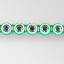 1-row ss8, Vitrail Medium, Acig Green Setting, Machine Cut Rhinestone  Plastic Banding