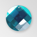 18mm Acrylic Round Sew-On Stone, Aqua Bohemica color