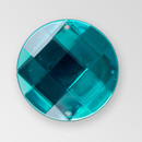 30mm Acrylic Round Sew-On Stone, Indicolite color