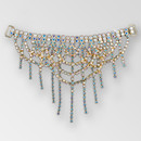 6.5 inch Draped Crystal AB Gold Rhinestone Connector, ss12, ss18