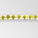 1-row ss19, 4.5mm Machine Cut Metal Set Banding Citrine color, Silver Plated on White Tape