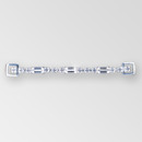 4 inch 1-row Crystal Silver Connector, ss18, 10x5mm baguettes