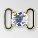 0.4 inch round single stone Crystal Gold connector, ss38