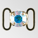0.4 inch round single stone Crystal AB Gold connector, ss38