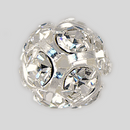 12mm Rhinestone Ball Crystal, Silver Plated