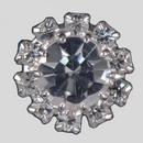 12mm Rhinestone Button, Crystal/Silver