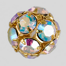 14mm Rhinestone Ball Crystal AB, Gold Plated