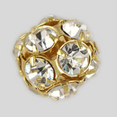 14mm Rhinestone Ball Crystal, Gold Plated