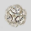 14mm Rhinestone Ball Crystal, Silver Plated