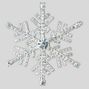 2.375 inches, Crystal Silver Snow Flake Trim