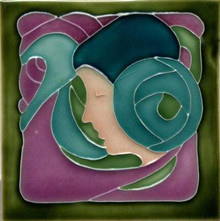 Porteous V80D Art Nouveau Lady Tile