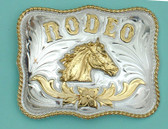 "RODEO Horsehead German Silver Buckle, 4""x 3"""