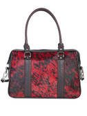 HAIR ON CALF HANDBAG.  TOP ZIP CLOSURE.  INTERIOR CENTER ZIP DIVIDER WITH TWO OPEN POCKETS AND ZIP POCKETS.  REMOVABLE ADJUSTABLE SHOULDER STRAP.  FOUR NICKEL FEET.  DOUBLE HANDLES - 10.5 INCH DROP LENGTH.