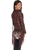 HAIR ON CALF HANDBAG.  FRINGE FLAP WITH MAGNETIC SNAP CLOSURE.  INTERIOR TWO OPEN POCKETS AND ZIP POCKET.  EXTERIOR REAR FULL ZIP POCKET.  ADJUSTABLE SHOULDER STRAP.  SIZE: 11 INCH X 9 INCH X 3 INCH.