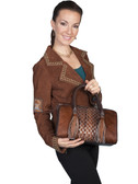 HAIR ON CALF LEATHER HANDBAG.  TOP ZIP CLOSURE.  DECORATIVE TWO TASSELS ON FRONT OF BAG.  DECORATIVE WEAVE DETAIL ON CENTER FRONT AND BACK.  INTERIOR ZIP AND TWO OPEN POCKETS.  SIZE: 13 INCH X 9 INCH X 6 INCH.