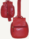 MINI BACKPACK.  FRONT FLAP MAGNETIC SNAP CLOSURE.  FRONT EXTERIOR FULL ZIP POCKET.  THREE-WAY ZIP FRONT COMPARTMENT.  INTERIOR TWO OPEN POCKETS WITH TWO PEN LOOPS AND TWELVE CREDIT CARD POCKETS.  THREE-WAY ZIP MAIN COMPARTMENT WITH INTERIOR ZIP POCKE