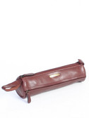 PENCIL CASE.  TWO EXTERIOR FULL ZIP POCKETS.  TWO LEATHER LOOPS.  COTTON LINING.  ZIP CLOSURE.  IMPORT.