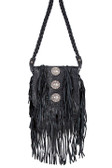 Black Leather Full Flap with Conchos Handbag