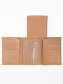 LEATHER THREE-FOLD W/ID WINDOW.  COMPACT 3-FOLD.  BILL DIVIDER SECTION.  CREDIT CARD POCKETS.  ID WINDOW.  IMPORT.