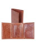 LEATHER TRI-FOLD WALLET W/ID WINDOW.  BILL DIVIDER.  CREDIT CARD POCKETS.  VERTICAL POCKETS.  ID WINDOW.  IMPORT.