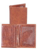 LEATHER GUSSETED CARD CASE.  BUSINESS CARD AND CREDIT CARD POCKETS.  ID WINDOW.  IMPORT.