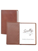 LEATHER DESK SIZE WEEKLY PLANNER.  5.5 INCH X 7.75 INCH WEEKLY PLANNER.  IMPORT.