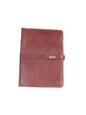 LEATHER LETTER PAD.  SNAP CLOSURE.  INSIDE POCKET.  8.5 INCH X 11 INCH WRITING PAD.  SCULLY PEN.  IMPORT.