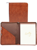 LEATHER ZIP LETTER PAD.  INSIDE POCKETS.  8.5 INCH X 11 INCH WRITING PAD.  SCULLY PEN.  IMPORT.