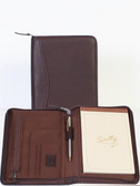 LEATHER JUNIOR ZIP PADFOLIO.  INSIDE ORGANIZER.  5 INCH X 8 INCH NOTE PAD.  SCULLY PEN.  IMPORT.