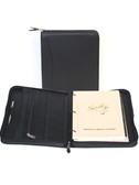 LEATHER ZIP PLANNER BINDER.  INSIDE ORGANIZER.  8.5 INCH X 11 INCH WEEKLY PLANNING SYSTEM.  8.5 INCH X 11 INCH WRITING PAD.  SCULLY PEN.  IMPORT.