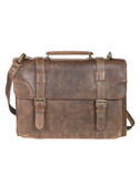 LAMBSKIN SATCHEL BRIEF.  INTERIOR FRONT GUSSET W/INSIDE ORGANIZER.  PADDED CENTER GUSSET W/REMOVABLE LAPTOP SHUTTLE.  ROOMY REAR GUSSET W/13 INCH INSIDE ZIP POCKET.  REMOVEABLE AND ADJUSTABLE SHOULDER STRAP W/FAUX SHEARLING PAD.  COTTON LINING SHOWS