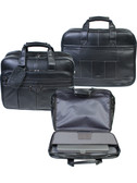LEATHER CHECKPOINT FRIENDLY COMPUTER BRIEF.  3 FRONT ZIP POCKETS. LARGE ZIP DOWN 2 GUSSET COMPARTMENT W/OPEN POCKETS.  3 OPEN CHUTES FOR BATTERY CHARGER & CABLES.  ZIP MESH POCKETS OPEN SLEEVE POCKETS FOR BUSINESS CARDS & AIRLINE TICKETS.  EXPANDABLE